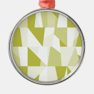 Geometric Green Pattern Silver-Colored Round Decoration