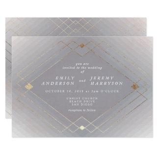 Geometric Grey Gold Deco Gatsby Wedding Invitation
