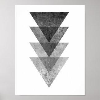 Geometric Grey Triangles Poster