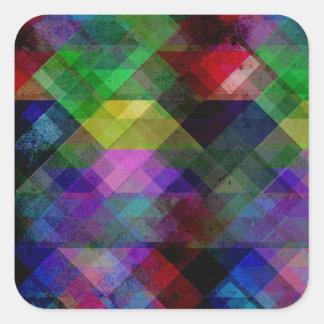 Geometric Grunge Abstract Square Sticker