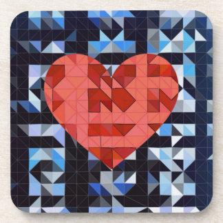 Geometric Heart LOVE Beverage Coasters