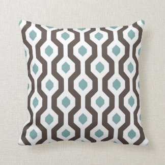 Geometric Hexagon Link Pattern Teal Brown Cushion