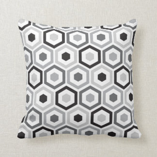 Geometric Hexagon Pattern Pillow | Black Grey