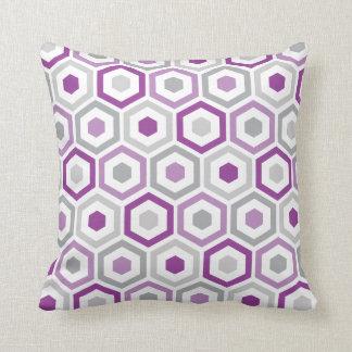 Geometric Hexagon Pattern Pillow | Purple Grey