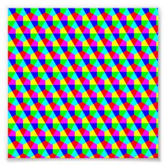 Geometric hexagons red yellow green blue pink photo art