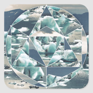 Geometric Icebergs Abstract Square Sticker