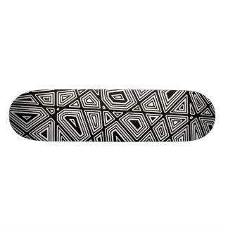 Geometric II - Black on Wood Skateboard Deck