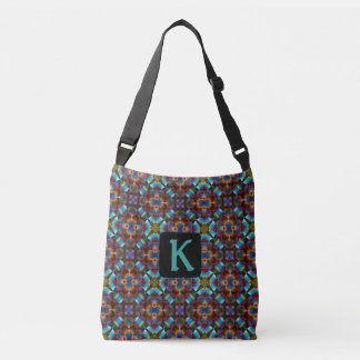 Geometric Kaleidoscope Blue Burgundy Black Tote