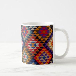 Geometric knitted quilt pattern basic white mug