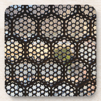 Geometric Lattice window, India Coasters