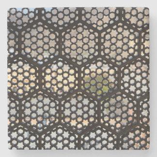 Geometric Lattice window, India Stone Coaster