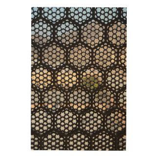 Geometric Lattice window, India Wood Print