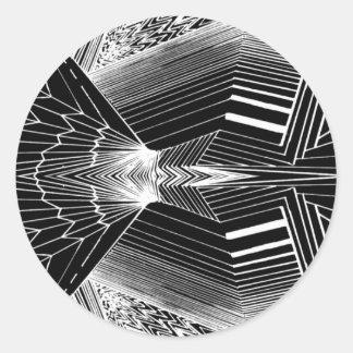 Geometric Line Art Black & White Abstract Design Round Sticker