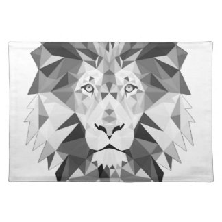 Geometric Lion Black and White Placemats
