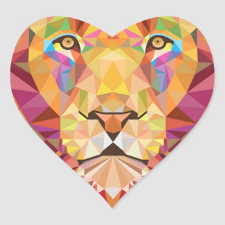 Geometric Lion Heart Sticker