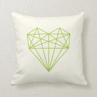 geometric love heart print / green and cream throw pillow