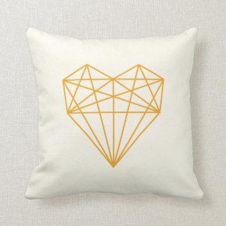 geometric love heart print / orange and cream throw cushions