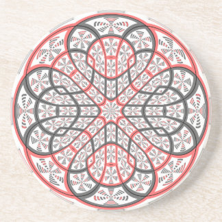 Geometric mandala beverage coaster