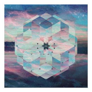 Geometric Mandala Polyscape Ocean Pastel Blue Poster