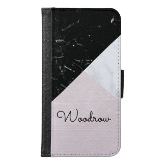 Geometric Marble Collage Pink Silk Trio Samsung Galaxy S6 Wallet Case
