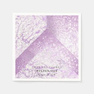 Geometric Marble White Purple Bridal Party Paper Napkin