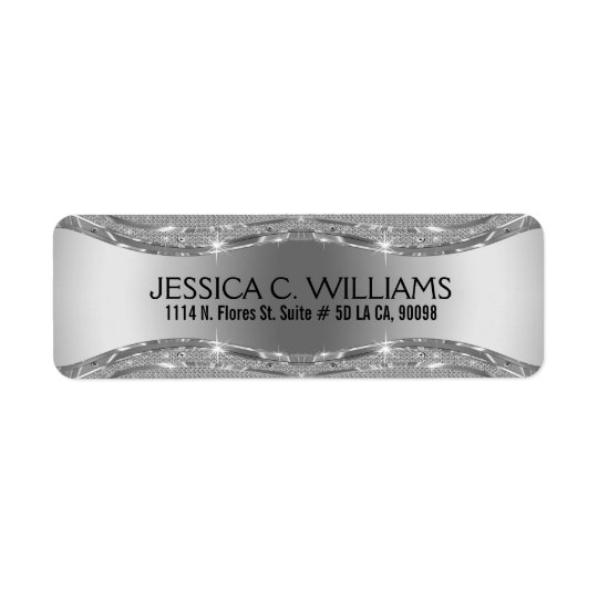 Geometric Metallic Silver Grey & White Diamonds Return Address Label
