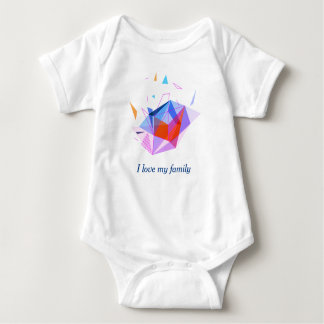 geometric minimalism abstract - I love my family Baby Bodysuit