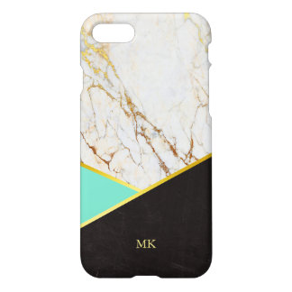 Geometric Mint & Gold Marble Monogram iPhone 7 Case