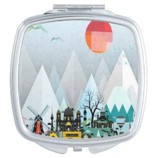 Geometric modern city mountain pattern mirror travel mirrors