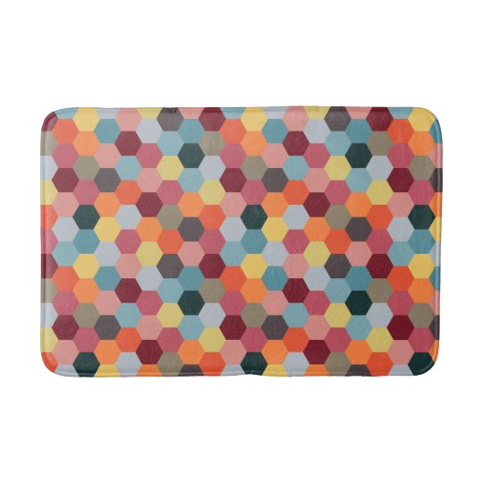 Geometric Modern Hexagon Pattern Bath Mat