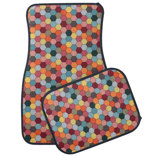 Geometric Modern Hexagon Pattern Car Mats