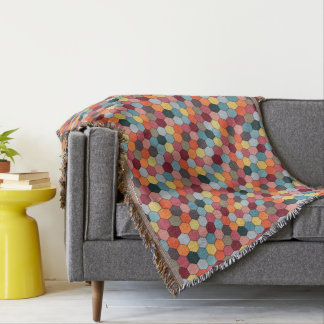 Geometric Modern Hexagon Pattern Throw Blanket