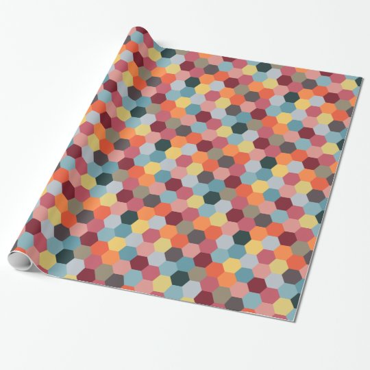 Geometric Modern Hexagon Pattern Wrapping Paper