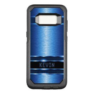 Geometric Modern Metallic Blue Texture OtterBox Commuter Samsung Galaxy S8 Case