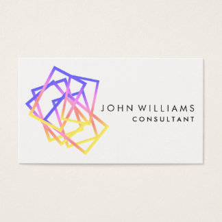 Geometric Modern Squares Professional Violet Art Business Card