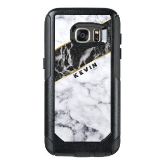 Geometric Modern White & Black Marble Design OtterBox Samsung Galaxy S7 Case