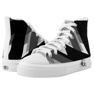 Geometric Mono Pattern High Top Sneakers