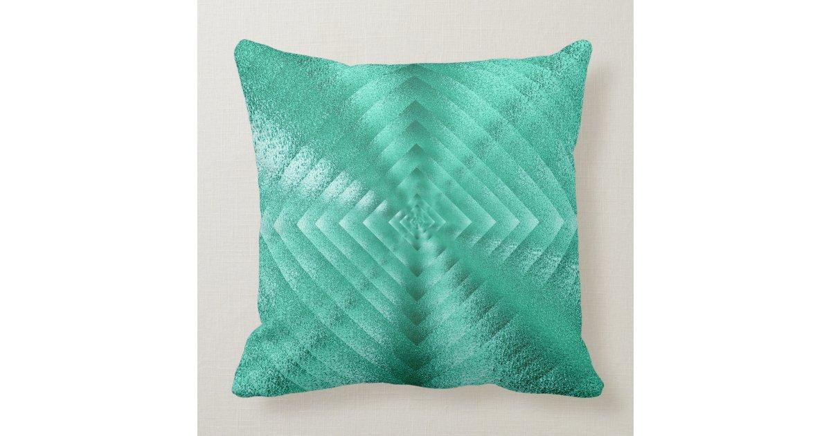 Throw Pillows In Mint Green : Geometric Monochromatic Glass Mint Green Tiffany Throw Pillow Zazzle
