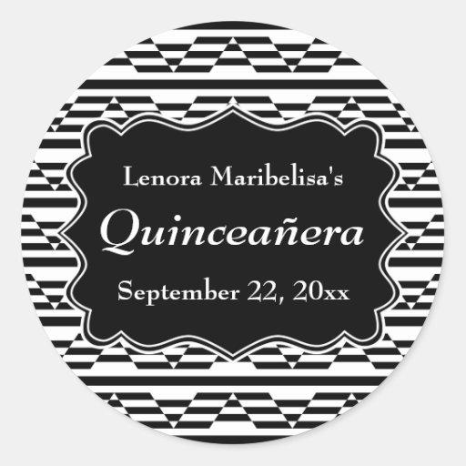 Geometric Monochrome Quinceanera Stickers