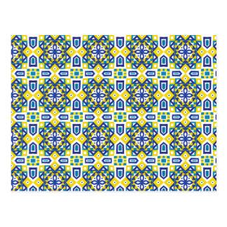 Geometric Moroccan Watercolor Seamless Pattern 3 Postcard