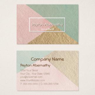 Geometric Moss Green Rose Blush Kraft Brown Business Card