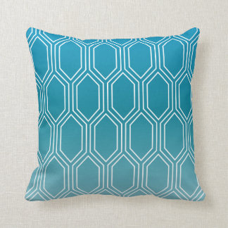 Geometric Motif Pattern | Blue Throw Pillow