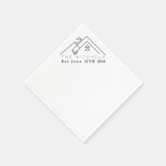 Geometric Mountain | Custom Name & Date Disposable Serviette