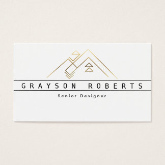 Geometric Mountain Logo | Gold | Custom Business Business Card