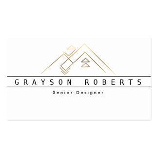 Geometric Mountain Logo | Gold | Custom Business Pack Of Standard Business Cards