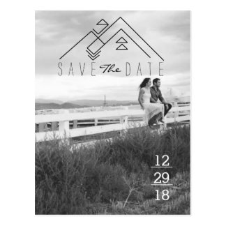 Geometric Mountain | Modern Save The Date Postcard