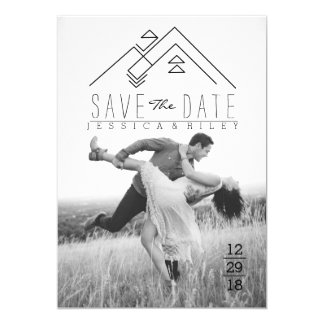 Geometric Mountian | Bohemian Save The Date 13 Cm X 18 Cm Invitation Card