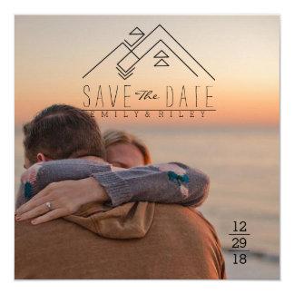 Geometric Mountian   Bohemian Save The Date Card