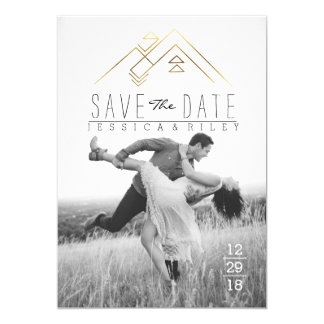 Geometric Mountian | Gold Save The Date Photo 13 Cm X 18 Cm Invitation Card