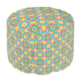 Geometric Multicolored Print Pouf